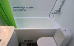 Samma badkar och kakel efter remaljering